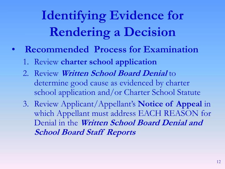 Recommended  Process for Examination