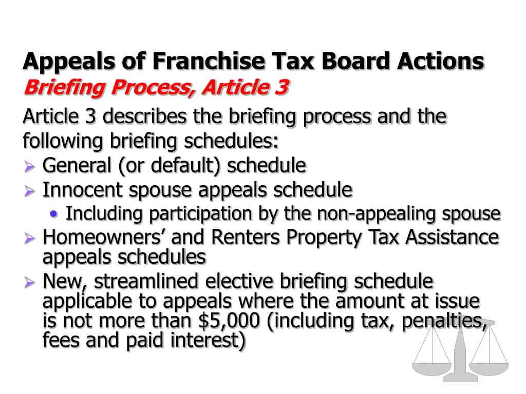 Appeals of Franchise Tax Board Actions