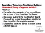 appeals of franchise tax board actions contents timing of appeals article 2