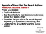 appeals of franchise tax board actions finality of decisions article 6
