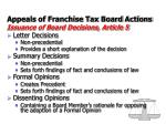 appeals of franchise tax board actions issuance of board decisions article 5