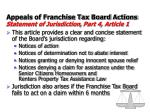 appeals of franchise tax board actions statement of jurisdiction part 4 article 1