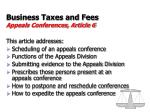 business taxes and fees appeals conferences article 6