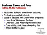 business taxes and fees article 2a also addresses