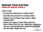 business taxes and fees claims for refund article 319