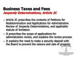 business taxes and fees jeopardy determinations article 2c