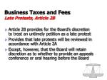 business taxes and fees late protests article 2b