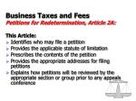 business taxes and fees petitions for redetermination article 2a