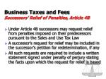 business taxes and fees successors relief of penalties article 4b