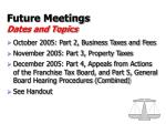 future meetings dates and topics