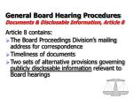 general board hearing procedures documents disclosable information article 8
