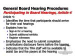 general board hearing procedures participating in board hearings article 4