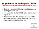 organization of the proposed rules the proposed rules are divided into five parts