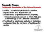 property taxes petitions for equalization of gov t owned property