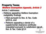property taxes welfare exemption appeals article 3