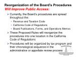 reorganization of the board s procedures will improve public access