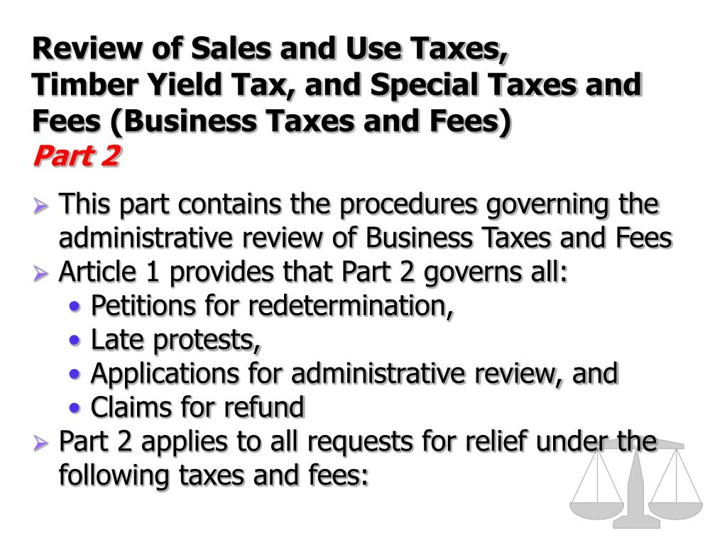 Review of Sales and Use Taxes,