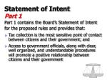 statement of intent part 1