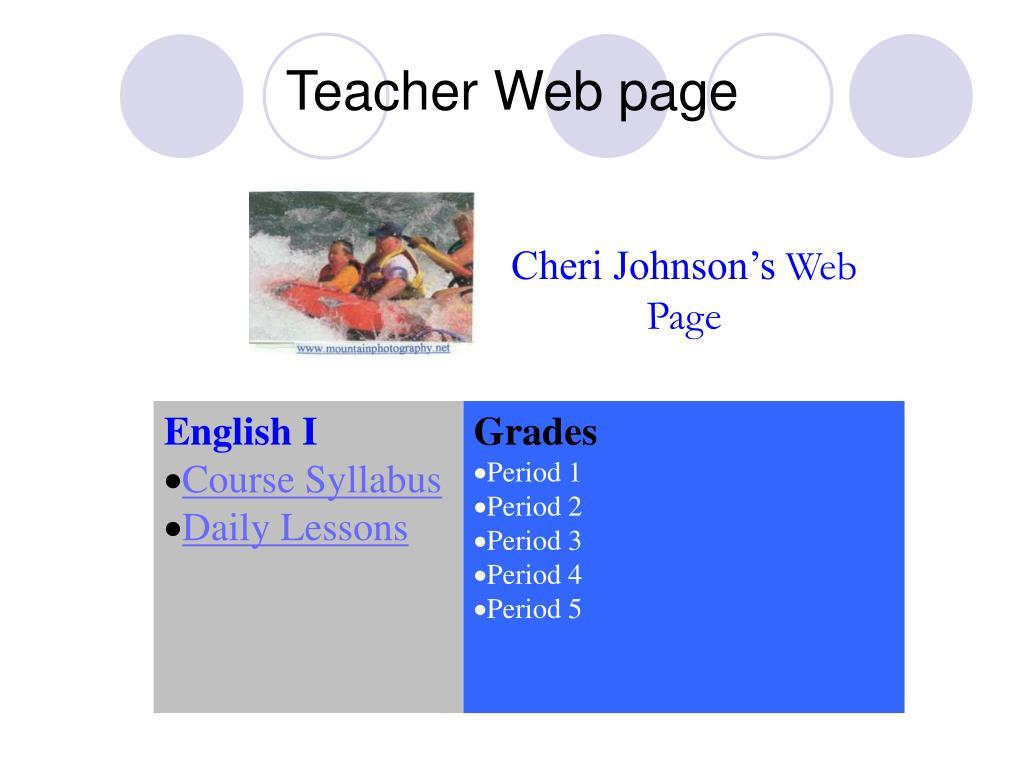 Teacher Web page