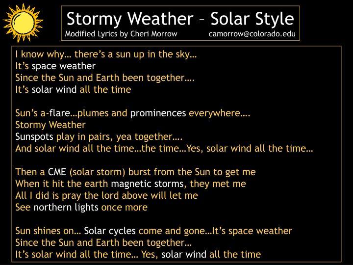 Stormy Weather – Solar Style