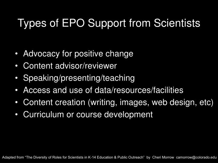 Types of EPO Support from Scientists