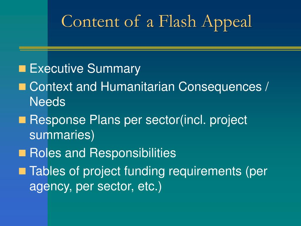 Content of a Flash Appeal