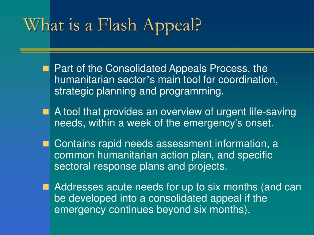 What is a Flash Appeal?