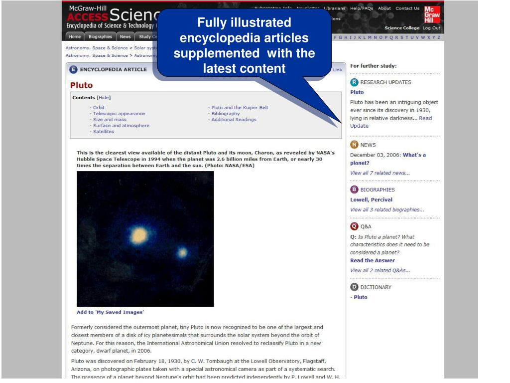Fully illustrated encyclopedia articles supplemented  with the latest content