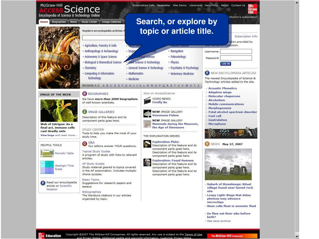 Search, or explore by topic or article title.