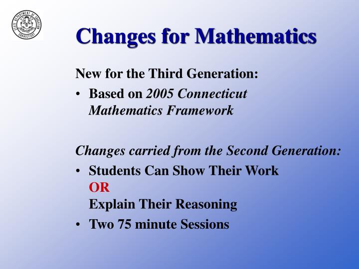 Changes for Mathematics