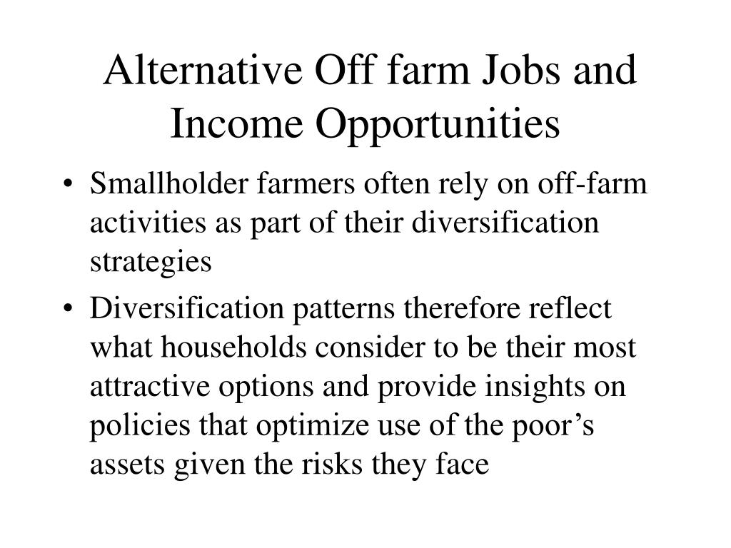 Alternative Off farm Jobs and Income Opportunities