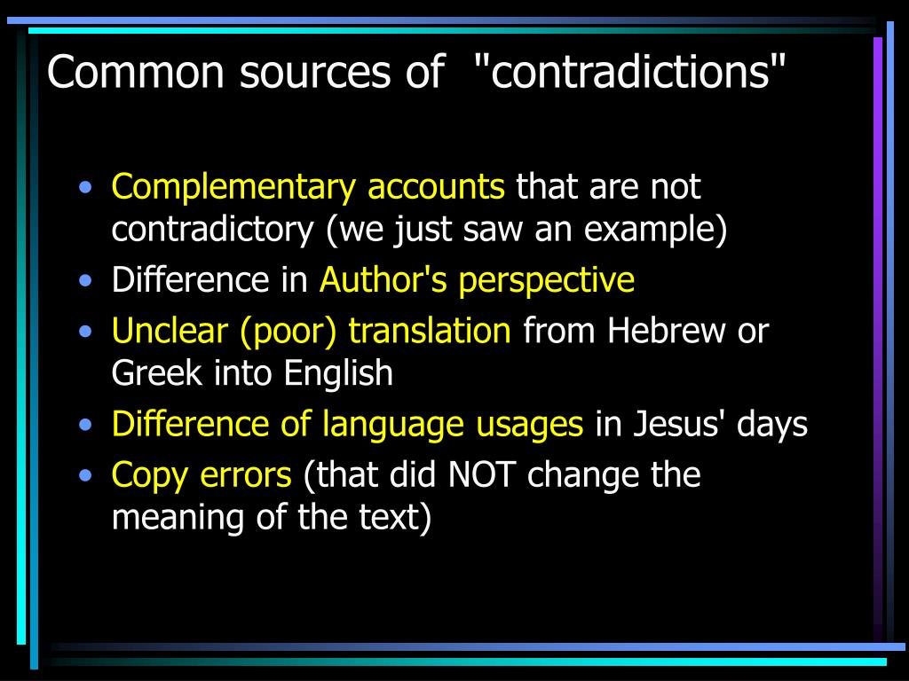 "Common sources of  ""contradictions"""