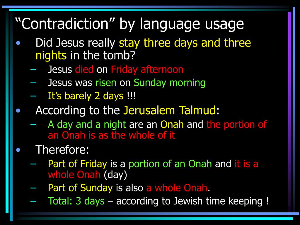 """Contradiction"" by language usage"