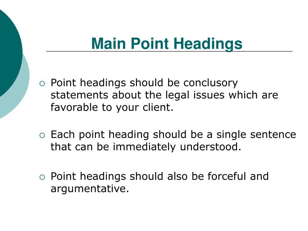 Main Point Headings