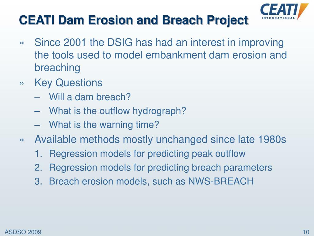 CEATI Dam Erosion and Breach Project