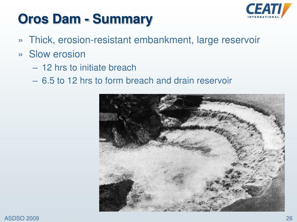 Oros Dam - Summary