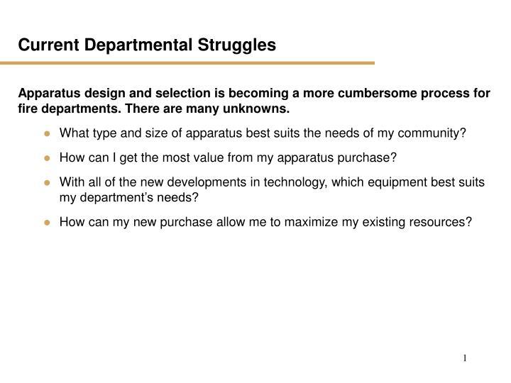 Current Departmental Struggles