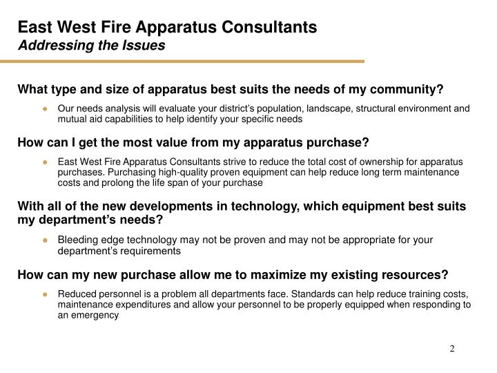 East west fire apparatus consultants addressing the issues