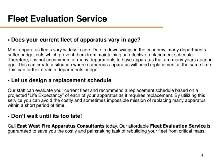 Fleet Evaluation Service