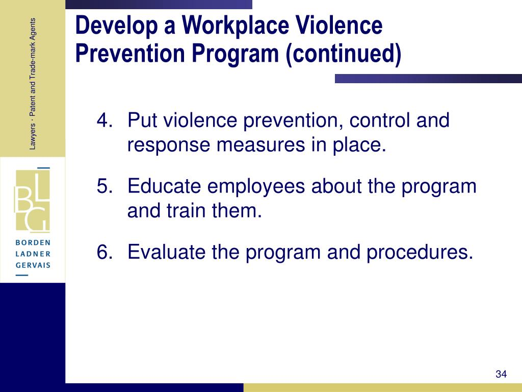 Develop a Workplace Violence Prevention Program (continued)