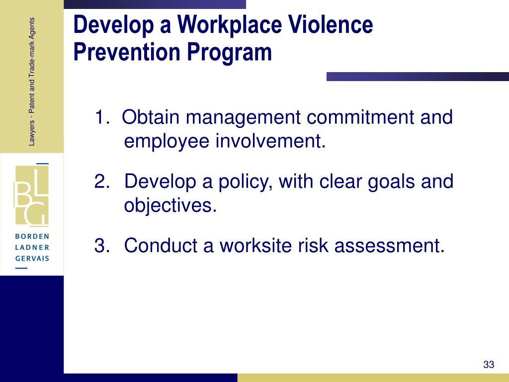 Develop a Workplace Violence Prevention Program