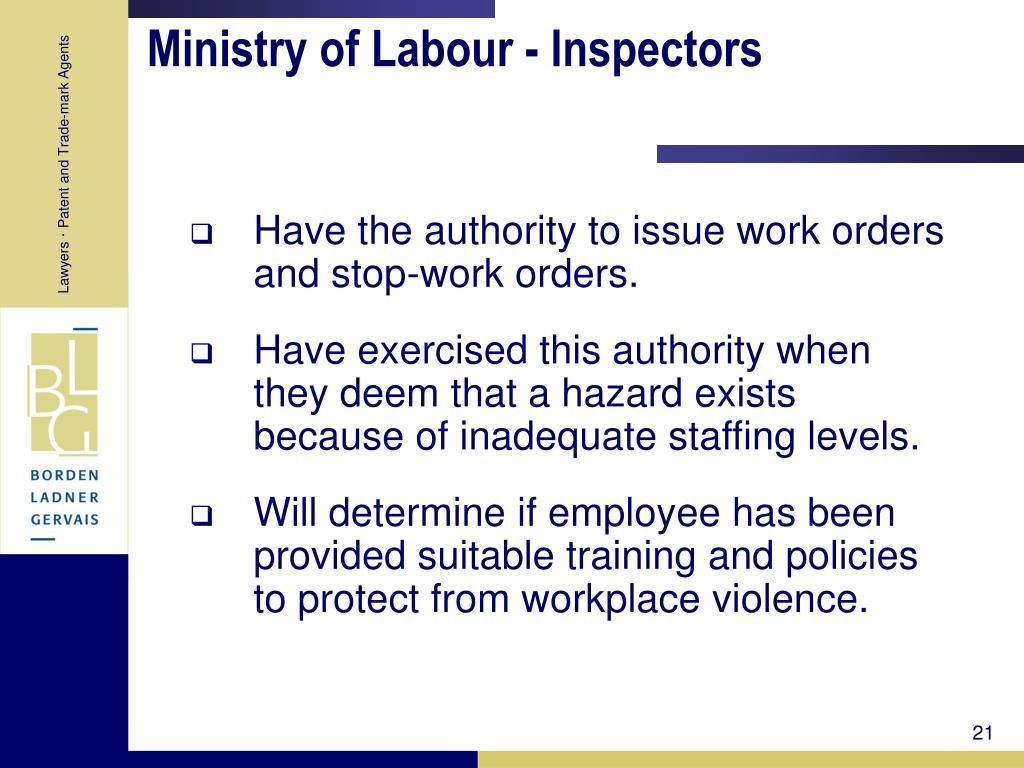 Ministry of Labour - Inspectors