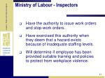 ministry of labour inspectors