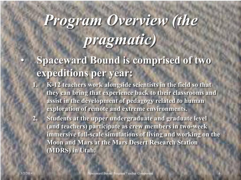 Program Overview (the pragmatic)