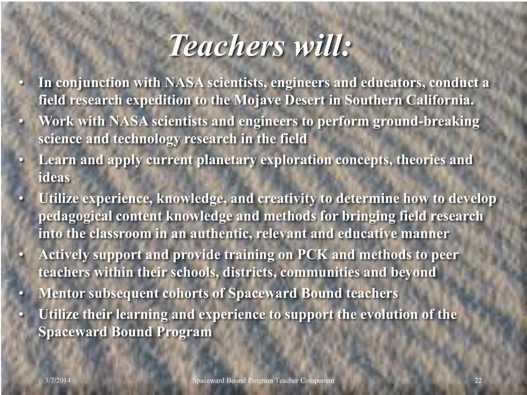 Teachers will: