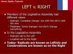 left v right