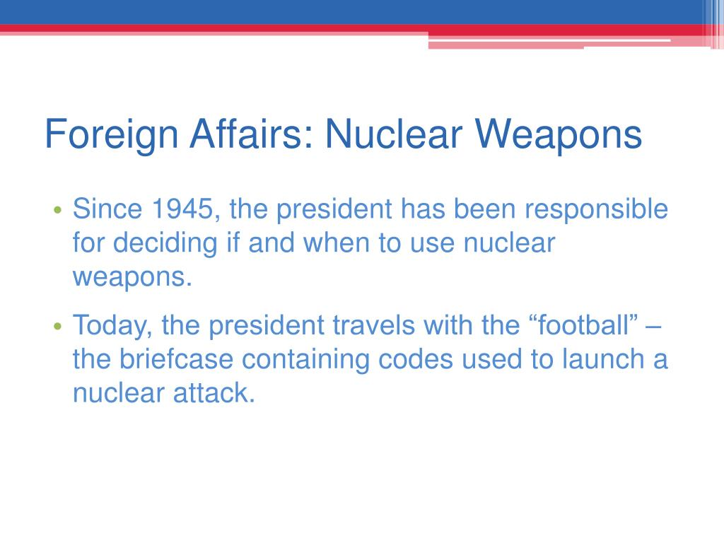 Foreign Affairs: Nuclear Weapons
