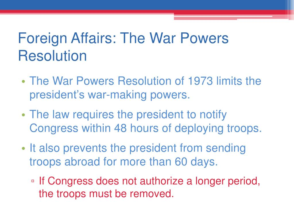 Foreign Affairs: The War Powers Resolution