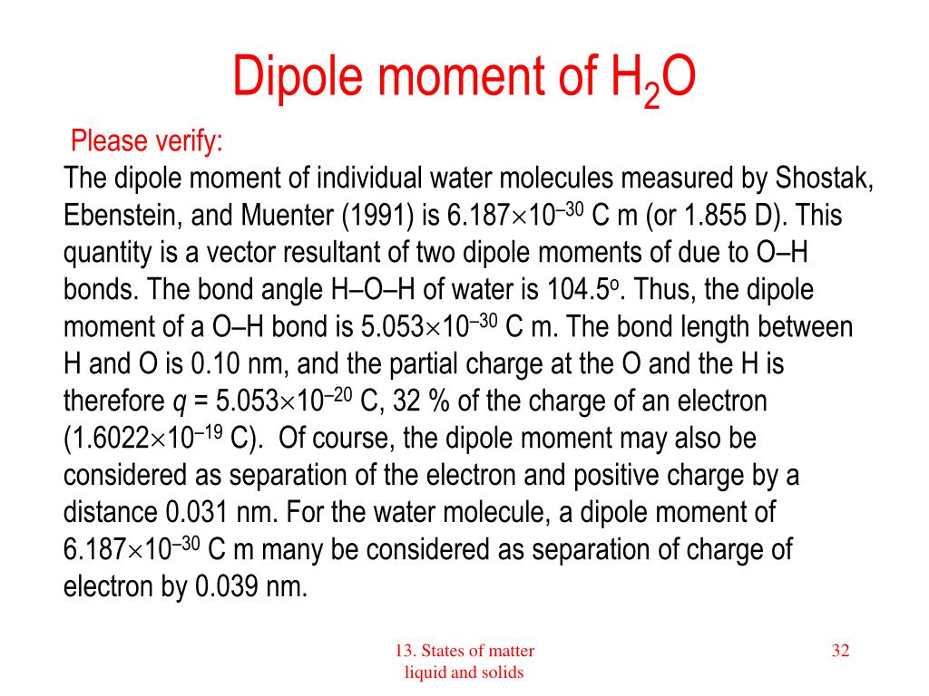 Dipole moment of H