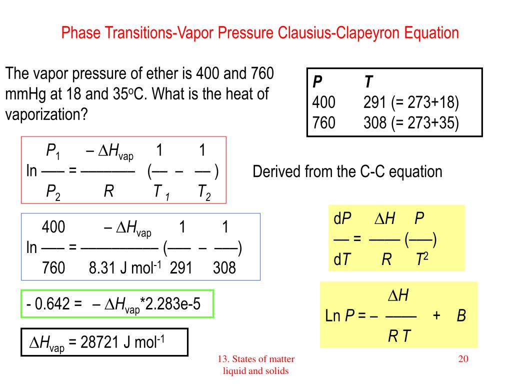 Phase Transitions-Vapor Pressure Clausius-Clapeyron Equation
